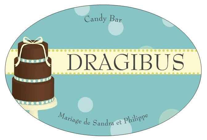 """etiquette """"dragibus"""" pour bar a bonbons"""
