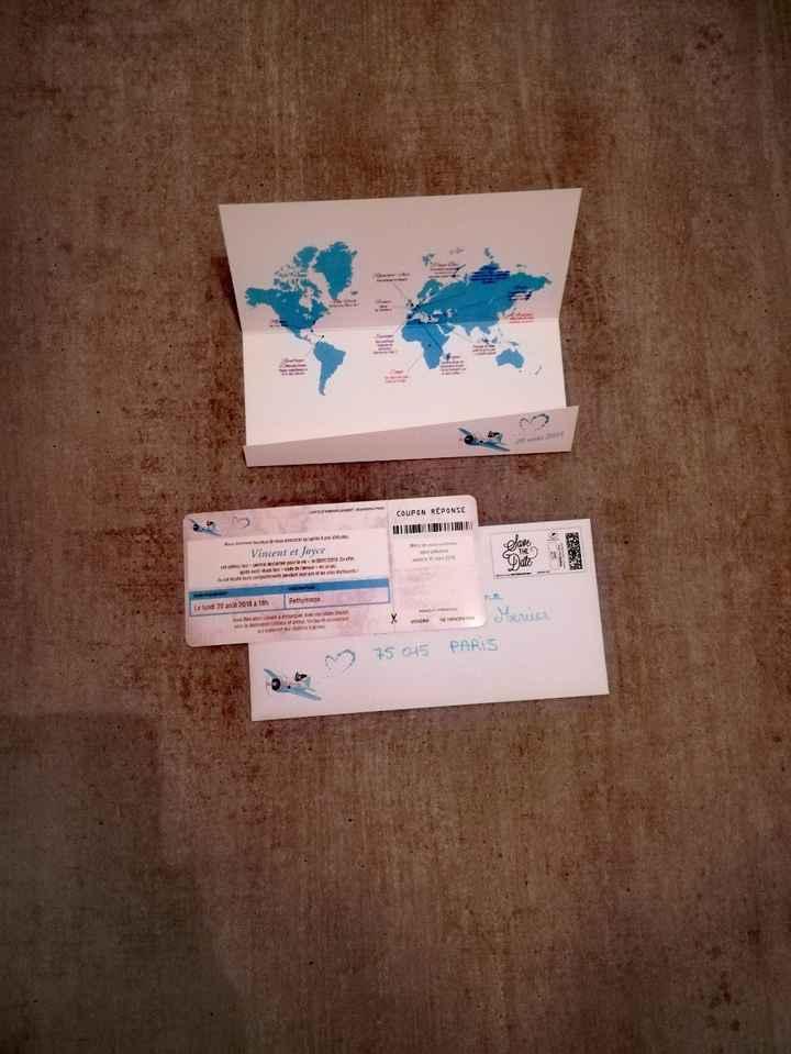 faire-part carte d'embarquement avec enveloppe
