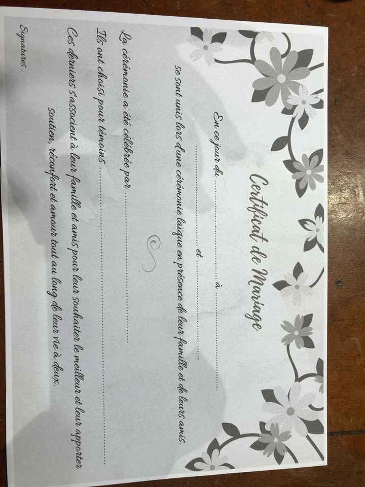 Cérémonie laïque un certificat ? - 1