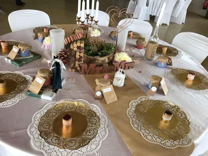 Decoration de table ronde champetre, bohème - 1