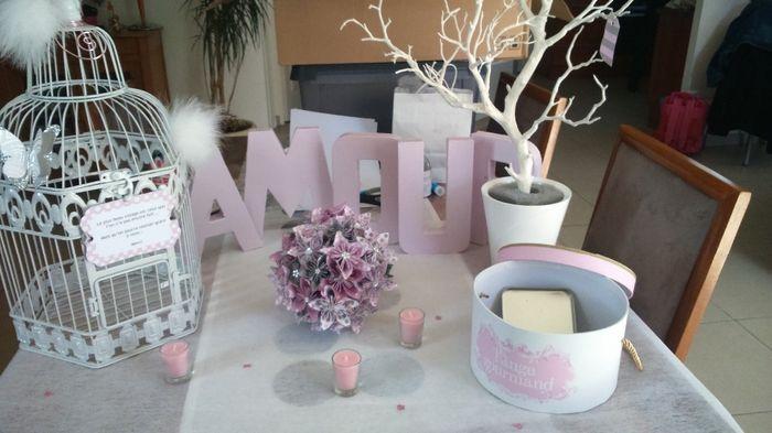 1er Essai déco mariage blanc ,rose pale et gris argent!! - Photo