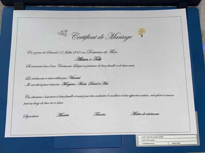 Certificat de mariage personnalisé - 1