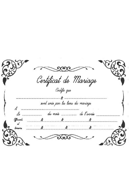 certificat de mariage la u00efque