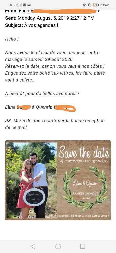Save the date envoyé - 2