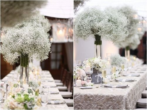 decoration table mariage gypsophile