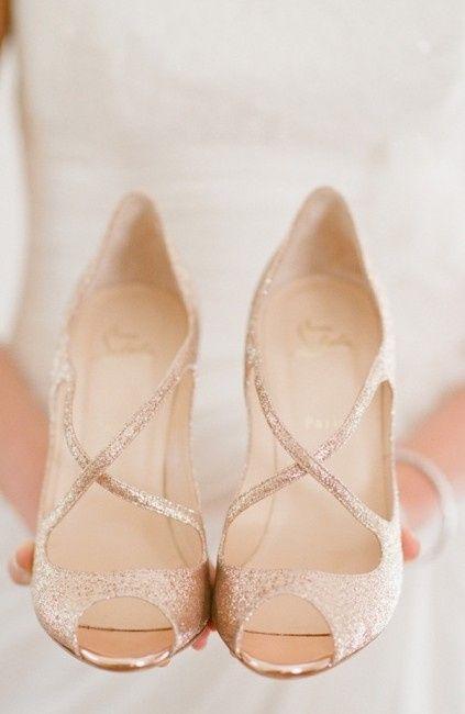 chaussures de mariage dorée