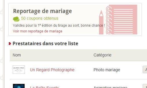 50 coupons obtenus avec la publication de votre reportage de mariage