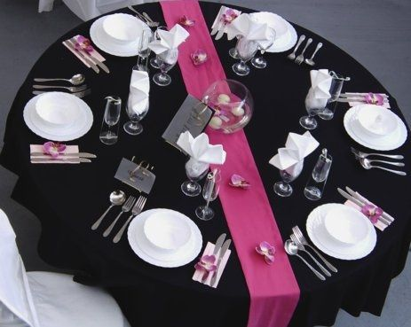 Inspiration mariage noir fuschia et blanc