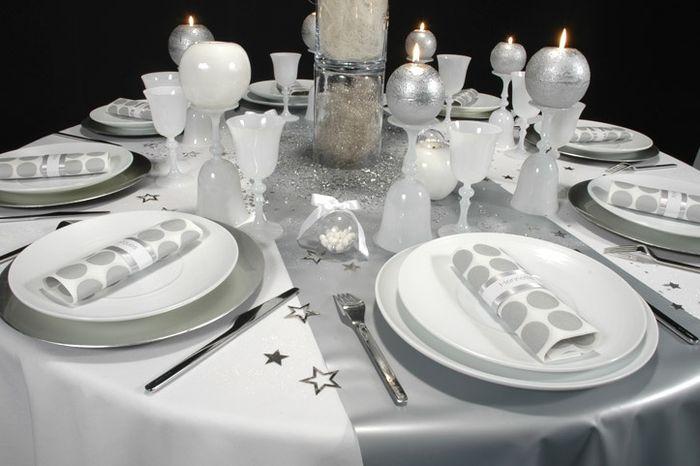Decoration blanc argent mariage - Photo
