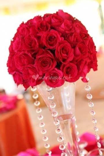 Centre de table rouge et blanc photo - Centre de table rouge et blanc pour mariage ...