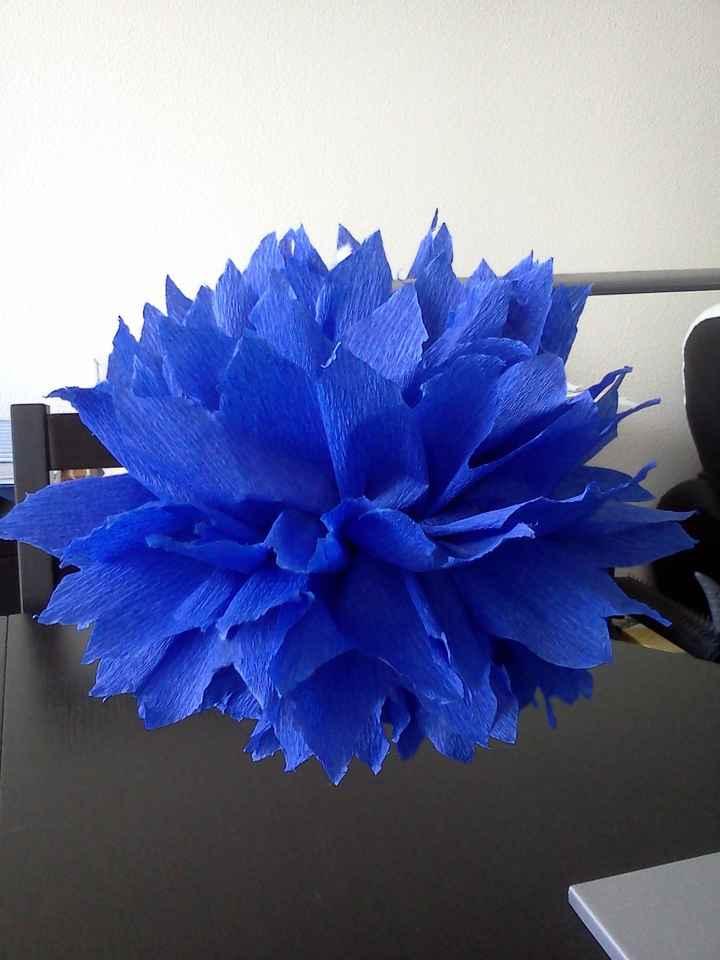 pompom crépon bleu foncé DIY