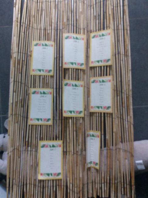 plan de table sur canisse en bambou (maintenant il est un peu bancal! désolée )