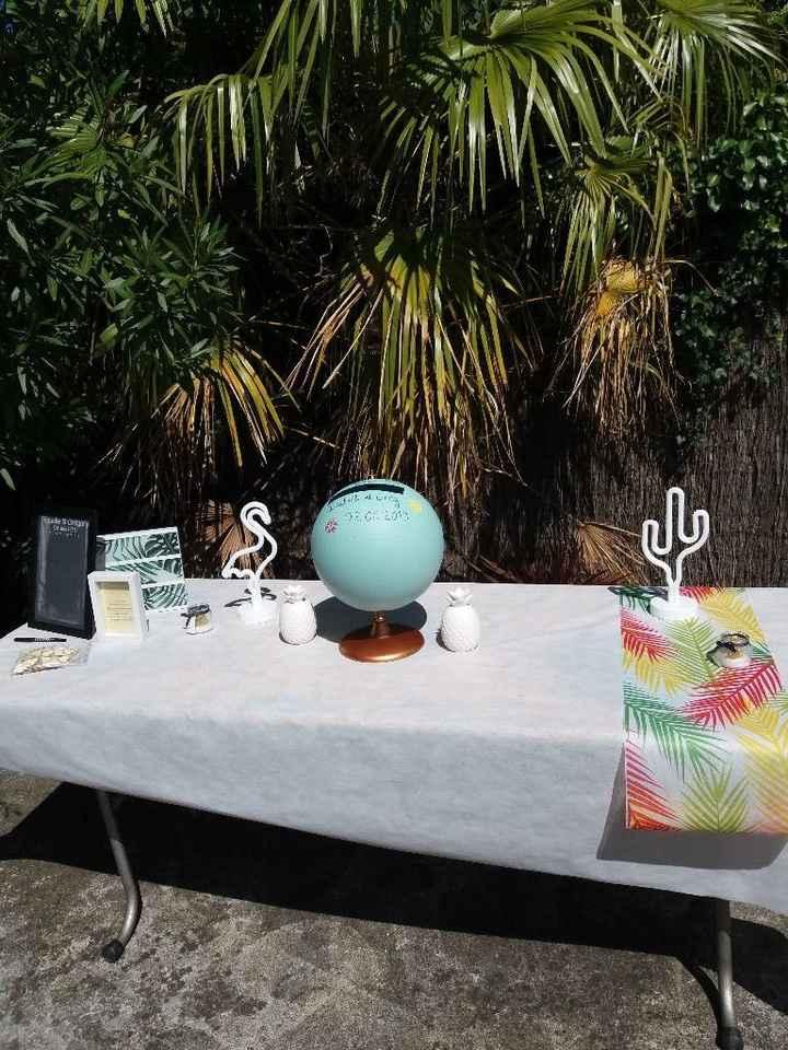 Table de l'urne avec urne globe terrestre, et l'arbre à prénoms sur la gauche