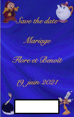 Nos save the date thème La Belle et la Bête 2