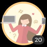 Blogueuse (20). Tu as ouvert 20 discussions ! Grâce à Internet, tu partages tes doutes et idées sans retenue. Cette médaille fait de toi une authentique blogueuse !