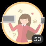 Blogueuse (50). Tu as ouvert 50 discussions ! Grâce à Internet, tu partages tes doutes et idées à volonté. Cette médaille fait de toi une authentique blogueuse !