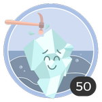 Briser la glace (50). Ce n'est pas toujours facile de briser la glace, mais tu n'as pas tourné longtemps autour du pot et tu es la première à commenter ces 50 discussions. Tu mérites cette médaille.