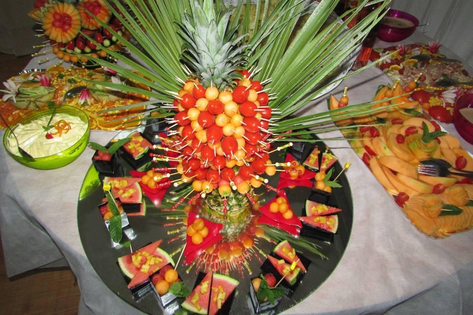 Exemple de buffet froid et sa décoration