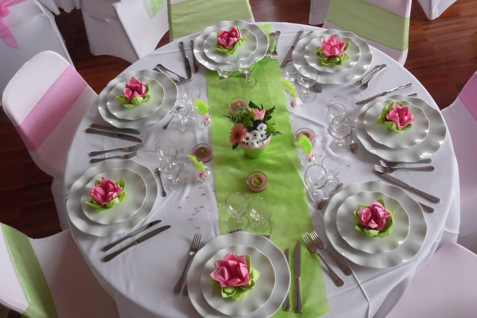 Thème rose/vert anis