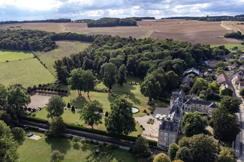 Château d'Aveny vue du ciel
