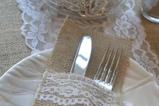 Décoration table en jute