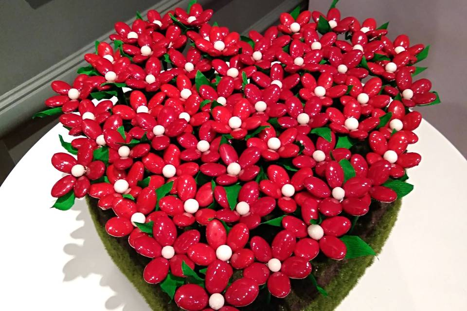 Coeur de fleurs de dragées !