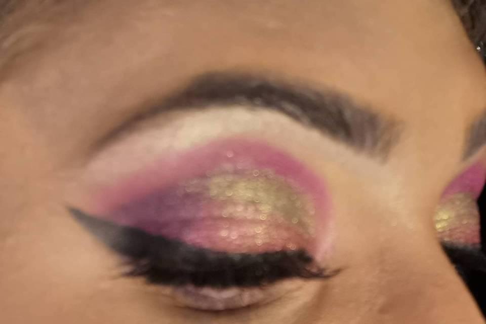 Make up dégradé rose et vert