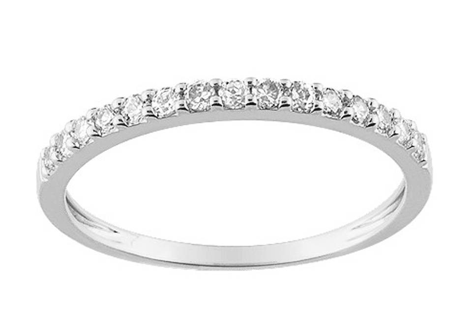 Alliance or gris et diamants