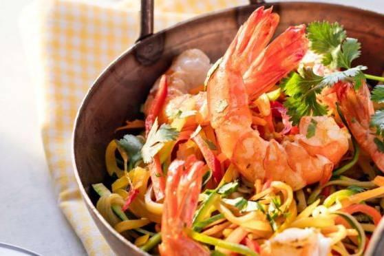 Crevettes aux wok