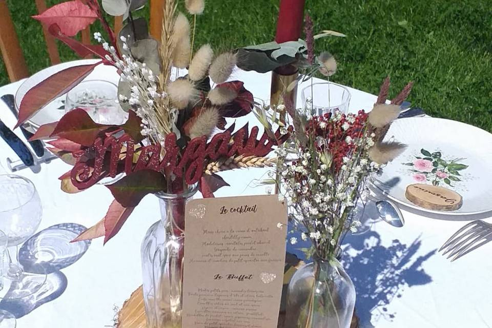 Table dréssée thème vin