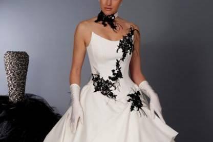 Robe bustier noire et blanche