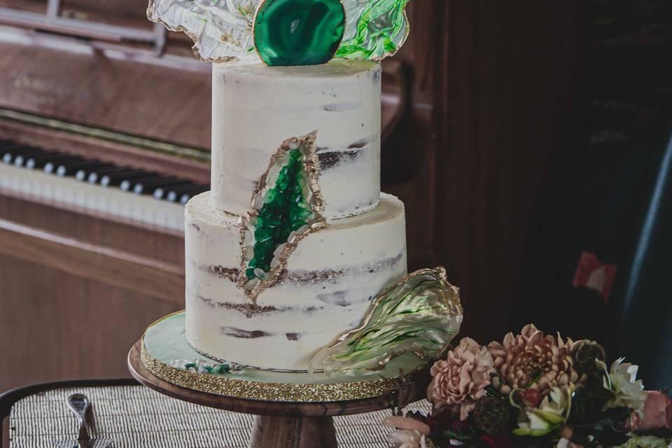 Naked cake géode