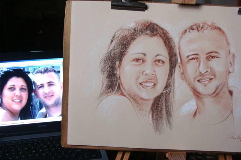 Portrait couple sanguine