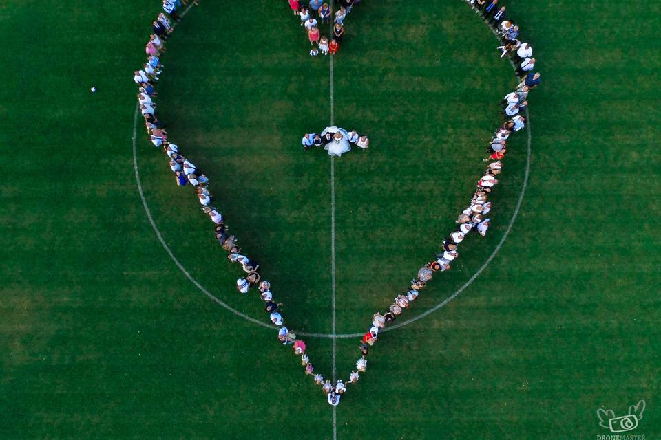 Coeur sur stade foot