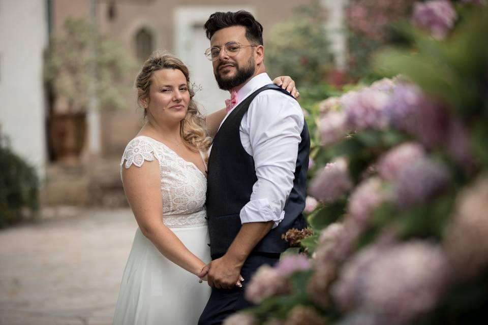 Photo des mariés au chateau
