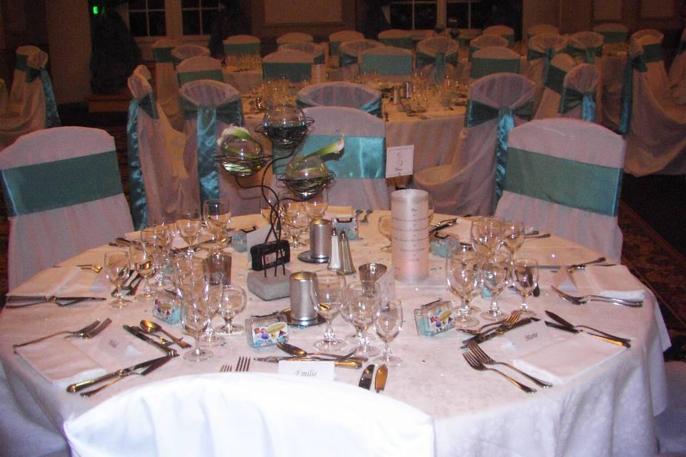 Deco mariage turquoise et argentée