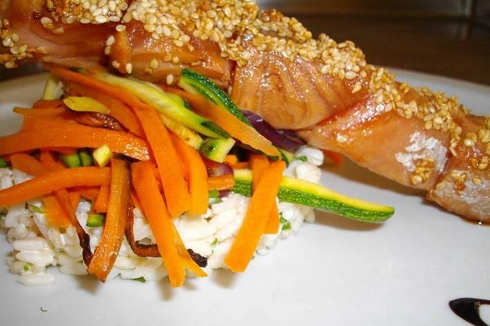 Brochette de saumon Thai