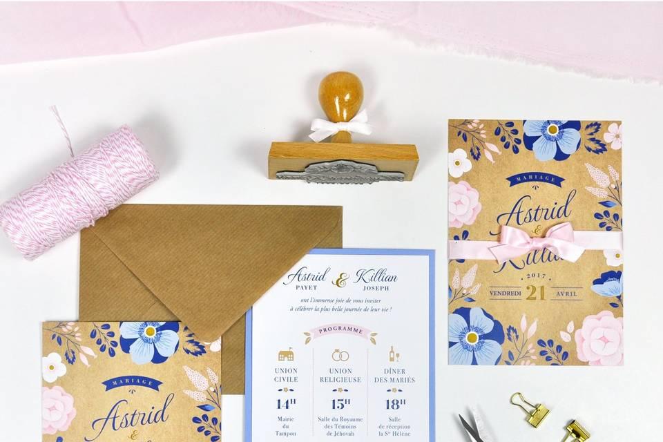 Invitation Ardoise Fleurie