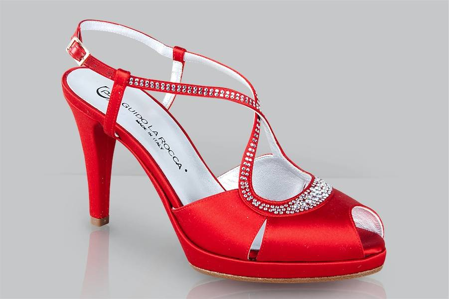 Sandales mariée satin strass