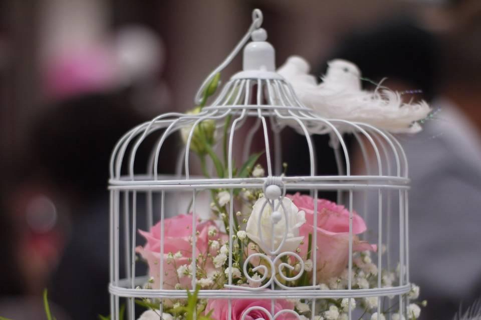 Cage fleurie - centre de table