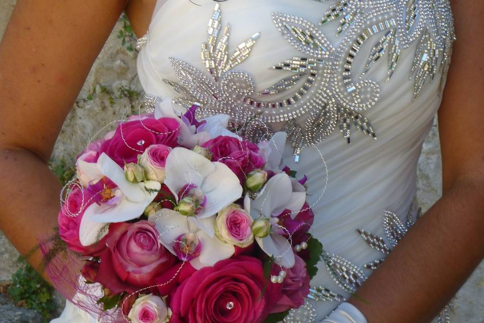 Bouquet de Mariée Chic Fuchsia